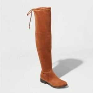 A New Day Sidney over the knee suede boots brown